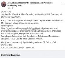 B.sc. / Chemical Engineer with Diploma or Degree in EHS &amp