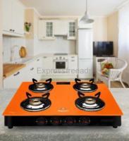 Master Aura Designer Orange Glass Top 4 Burner Large Steel, Gas stove