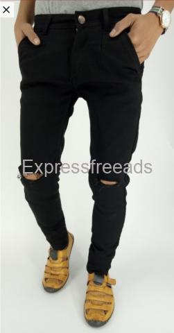 Black Mens Knee Cut Jeans from Mstore Nellore