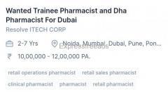 Trainee Pharmacist and Dha Pharmacist Jobs For Dubai